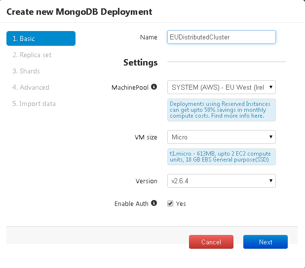 Cluster details to deploy mongod cluster in AWS EU regions