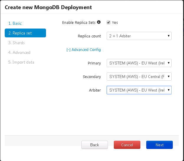 Place each replica set of mongodb in a separate EU region