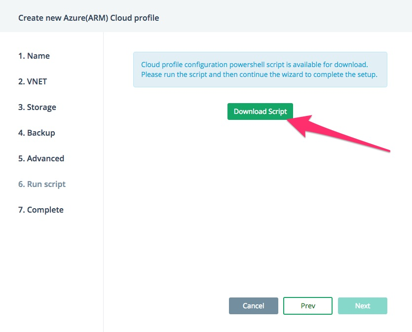 Azure bring your own cloud account - download script