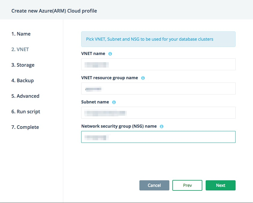Azure bring your own cloud account VNET Details